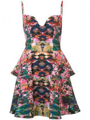 Платье на тонких лямках с баской Black Halo. Цвет: многоцветный
