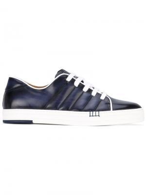 Стеганые кроссовки на шнуровке Berluti. Цвет: синий