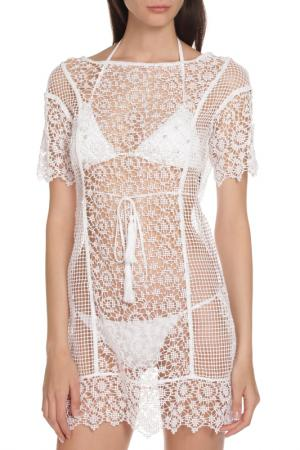 Прозрачная накидка для пляжа Ermanno scervino beachwear. Цвет: белый