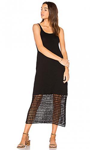 Платье на бретельках с кружевами крошё LACAUSA. Цвет: черный