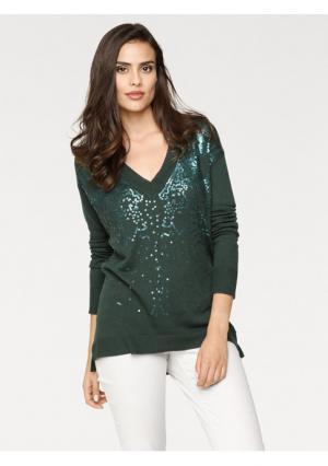 Пуловер Rick Cardona. Цвет: темно-зеленый, темно-синий