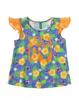Топ United Colors of Benetton. Цвет: оранжевый, темно-синий, серо-голубой