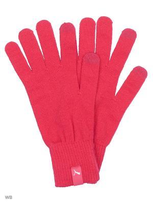 Перчатки PUMA knit gloves. Цвет: малиновый