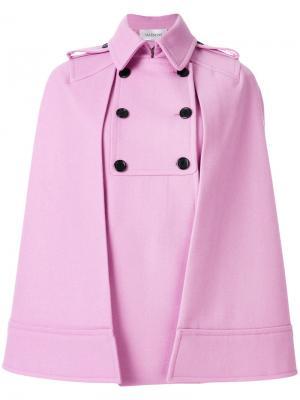 Двубортное пальто-кейп Valentino. Цвет: розовый и фиолетовый