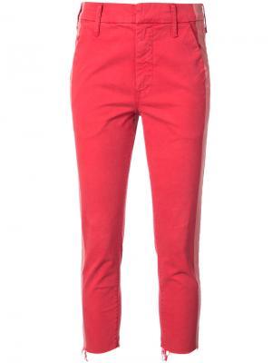 Укороченные джинсы с лампасами Mother. Цвет: красный