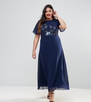 Praslin Платье макси с декоративной отделкой. Цвет: темно-синий