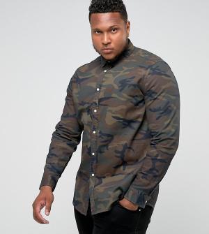 ASOS Джинсовая рубашка скинни с камуфляжным принтом PLUS. Цвет: коричневый