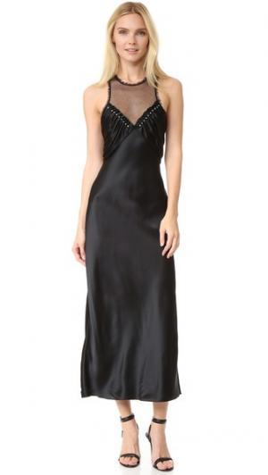 Платье-комбинация с вшитыми круглыми заклепками Alexander Wang. Цвет: голубой