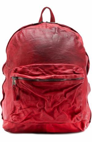Кожаный рюкзак с эффектом крэш Giorgio Brato. Цвет: красный