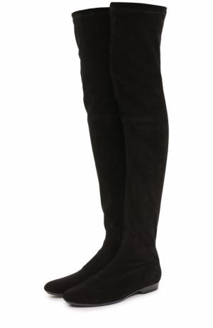 Замшевые ботфорты Fete на низком каблуке ROBERT CLERGERIE. Цвет: черный