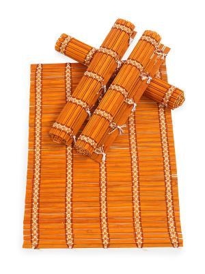 Салфетка из бамбука, 4 штук DAVANA. Цвет: коричневый