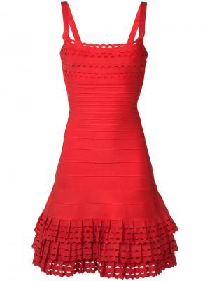 Приталенное платье с оборками Hervé Léger. Цвет: красный