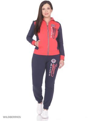 Костюм женский спортивный (джемпер, брюки) MARSOFINA. Цвет: красный, темно-серый