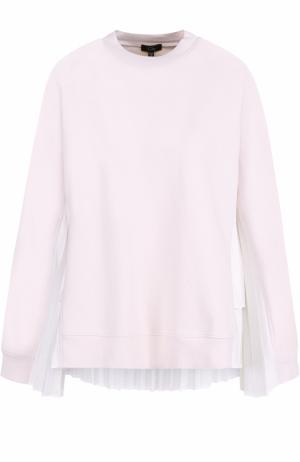 Хлопковый пуловер с плиссированными вставками Clu. Цвет: розовый