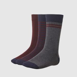 Комплект из 3 пар носков La Redoute Collections. Цвет: темно-синий/бордовый