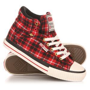 Кеды кроссовки высокие женские  Dee Red/Black/Check British Knights. Цвет: красный,черный