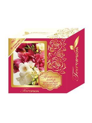 Чайный набор Розовый: 3D открытка-магнит, салфетка и чай Tipson Ceylon №1 OPA. Цвет: розовый