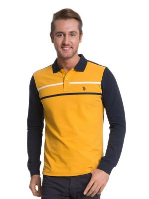 Лонгслив U.S. Polo Assn.. Цвет: желтый, темно-синий