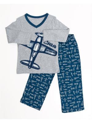 Пижама: футболка, брюки Mark Formelle. Цвет: синий, белый, темно-синий