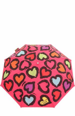 Складной зонт Moschino. Цвет: фуксия