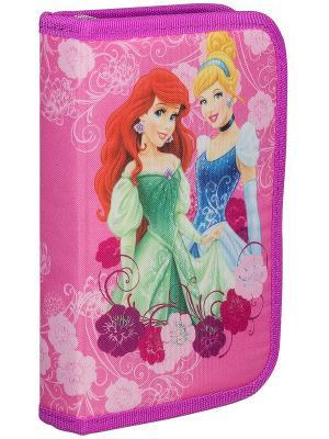 Пенал жесткий тканевый с клапаном, 19 предметов.  Disney Princesses Princess. Цвет: розовый