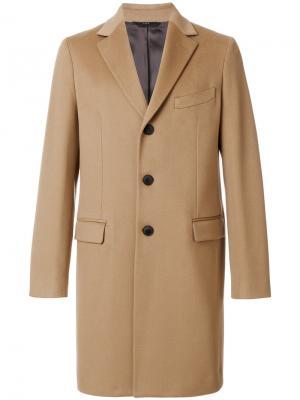 Пальто на пуговицах Hevo. Цвет: коричневый