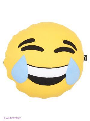 Подушка флисовый смайл Ржунемогу ЛисФлис. Цвет: желтый