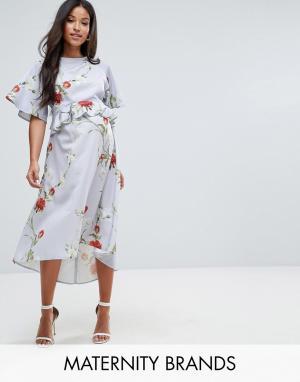 Hope and Ivy Maternity Платье с рукавами в стиле кимоно и мягкой баской &. Цвет: мульти