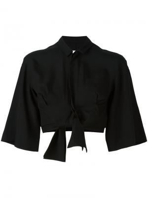 Рубашка с бантом Facetasm. Цвет: чёрный