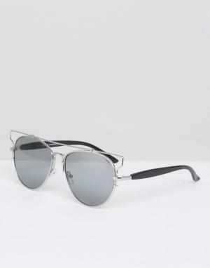 7X Солнцезащитные очки в стиле ретро. Цвет: серебряный
