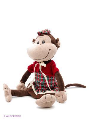 Обезьянка Валька в платье, 25 см MAXITOYS. Цвет: темно-коричневый