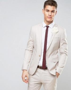 ASOS Желтовато-серый зауженный пиджак из эластичного хлопка WEDDING. Цвет: серый