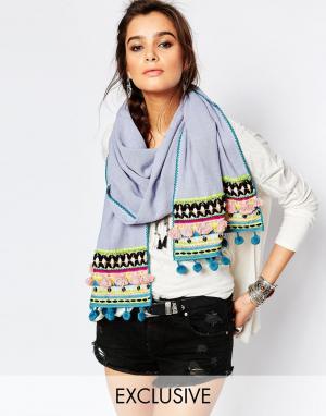 Blank Синий большой шарф с цветными помпонами BL^NK. Цвет: синий