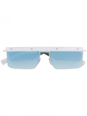 Солнцезащитные очки с квадратной оправой Le Specs. Цвет: белый