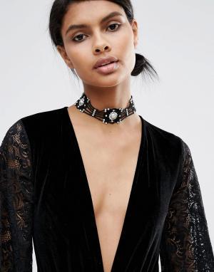 LoveRocks London Ожерелье-чокер с искусственным жемчугом. Цвет: черный