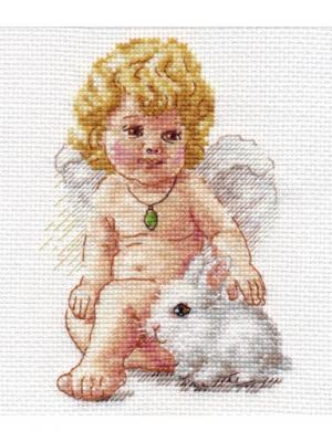 Ангел Хранитель 10х14 см Алиса. Цвет: белый, серый, светло-серый, светло-желтый, розовый