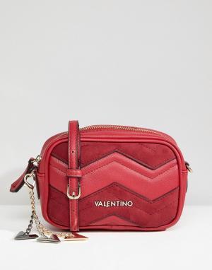 Valentino by Mario Красная сумка с шевронной отделкой. Цвет: красный