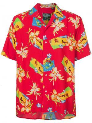 Рубашка с рисунком в гавайском стиле Gitman Vintage. Цвет: красный