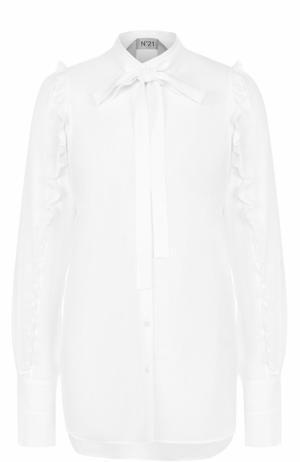 Блуза с удлиненной спинкой и оборками No. 21. Цвет: белый