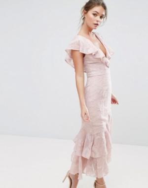 Dark Pink Платье миди с выжженным рисунком и оборками на рукавах по краю. Цвет: розовый