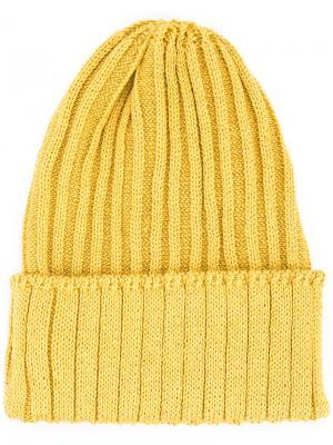 Ribbed knit beanie Kijima Takayuki. Цвет: жёлтый и оранжевый