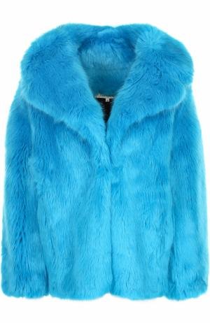 Укороченная шуба из эко-меха Diane Von Furstenberg. Цвет: голубой
