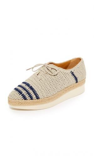 Ботинки на шнурках Paddle с вязкой крючком Coclico Shoes. Цвет: серо-коричневый/синяя полоска