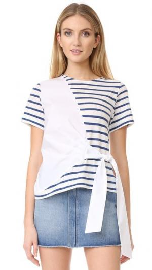 Комбинированная футболка из рубашечной ткани с завязками Sea. Цвет: белый/синяя полоска