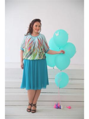 Блузка LUDMILA. Цвет: голубой