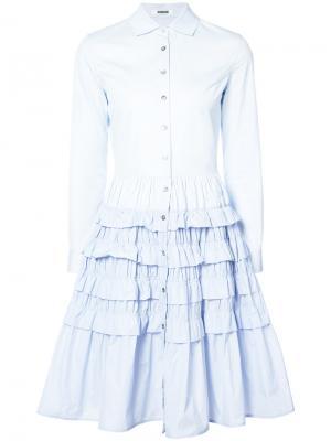 Многослойное платье-рубашка с оборками Jourden. Цвет: синий