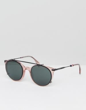 Tommy Hilfiger Круглые солнцезащитные очки в розовой металлической оправе Hilfi. Цвет: розовый