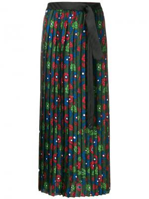 Плиссированная юбка с цветочным принтом Hache. Цвет: зелёный
