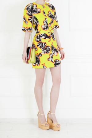 Хлопковое платье Jonathan Saunders. Цвет: желтый, белый, черный