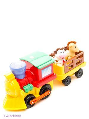 Развивающая игрушка Поезд с животными Kiddieland. Цвет: синий, красный, желтый